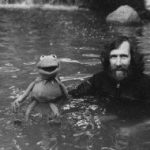 Jim and Kermit on set
