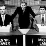 Gene Rayburn with celebrity participants for a special evening version of the 1960s Match Game.