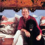 Paul relaxes with his dog Alfred from a 1981 Architectural Digest photoshoot (attribution: Paul Lynde info.com)