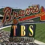Common broadcasting logo for the Braves baseball team on TBS. Turner owned both team and station.