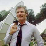 Ted in front of the technology that allowed for the creation of both TBS and CNN.
